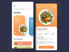 Recipe Design - Daily UI 040 by Alberto Colopi Design Web, Food Design, Recipe Design, Food Project, Daily Ui, Salmon Salad, Mobile App Ui, Ui Inspiration, Inspire