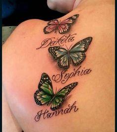36 New Ideas tattoo arm vrouw naam - Tattoos for kids - Tattoos With Kids Names, Family Tattoos, Tattoos For Daughters, Tattoos For Women, Butterfly Tattoos With Names, Butterfly Tattoo Cover Up, Realistic Butterfly Tattoo, Butterfly Tattoo Designs, Purple Butterfly Tattoo