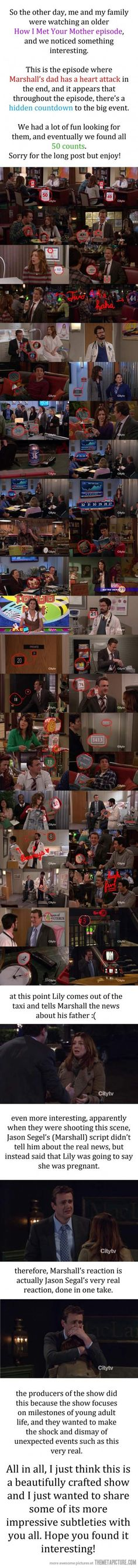 Hidden messages in How I Met Your Mother, I caught the numbers, but didn't know about the reaction