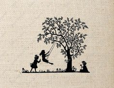 Silhouette Children Playing Tree Swing Digital Download or Iron on Transfer on Etsy, $1.50