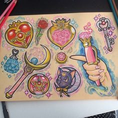 - Sailor Pluto's Time Key! Best Picture For rose tattoo For Your Taste You are looking for someth - Sailor Moon Fan Art, Sailor Pluto, Sailor Moon Crystal, Sailor Neptune, Girly Tattoos, Body Art Tattoos, Cool Tattoos, Bright Tattoos, Sailor Tattoos