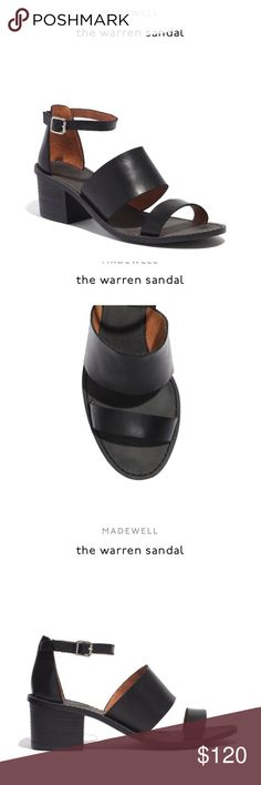 """Madewell The Warren Sandal PRODUCT DETAILS Sleek and minimalist, these triple-strap sandals have a chunky block heel to make them extra walkable. So cool and directional.   Leather upper and lining. 1 1/4"""" stacked heel. Man-made sole. Import. Item A3724. Madewell Shoes Sandals"""