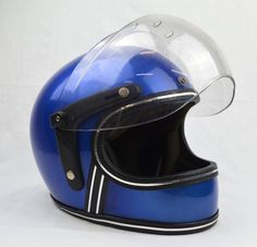 Grant FF RG-9 Vintage Motorcycle Helmet - Full Face Bubble Shield Blue Large XL  | eBay