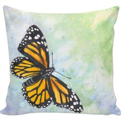 Monarch butterfly Couch Pillow ($30) ❤ liked on Polyvore featuring home, home decor, throw pillows, butterfly throw pillows, watercolor throw pillows, spring home decor, spring throw pillows and animal throw pillows