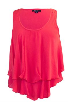 High-Low Tank Top With Ruffled Trims
