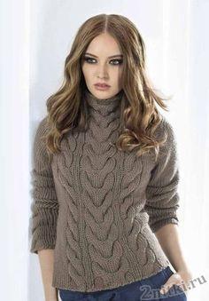 пуловер с косами из толстой пряжи