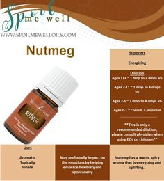 Nutmeg Essential Oil, Young Living Essential Oil, all natural living, dilution ratios