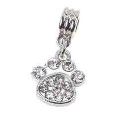 White Rhinestone Paw Dangle Charm Bead fits Pandora Chamilia Trollbead, Biagi, Kay's Zable Style Bracelet LaFenne. $8.99. Charm size: approx. 18mm x 16mm.  Total length: approx. 30mm.  Hole size: approx. 5 mm. Conversion: 1 inch = 25.4mm. Compatible with all major brands charm bracelets, such as Pandora, Chamilia, Troll, Biagi, Kay, Zable..etc.. Beads are not threaded, will SLIDE onto the European charm bracelets.. Qty: 1 dangle charm at listing price. Bracelet is not inclu...