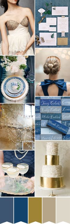 In love with this palette!! Blue and Gold Wedding Colour Palette | www.onefabday.com
