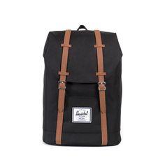 Herschel Retreat Backpack<p>Black/Tan Synthetic Leather