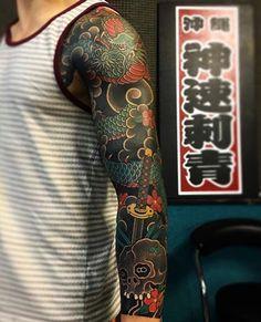 Japanese tattoo sleeve by Yakuza Tattoo, Arm Tattoo, Body Art Tattoos, Cool Tattoos, Japanese Tattoo Art, Japanese Tattoo Designs, Japanese Sleeve Tattoos, Dragon Sleeve Tattoos, Full Sleeve Tattoos