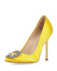 Manolo Blahnik Hangisi Satin Crystal-Toe Pump, Yellow