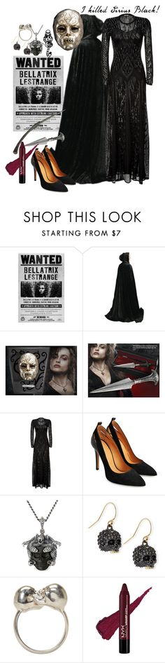 """Halloween Costume: Bellatrix Lestrange + Tag"" by secretsoftheslytherin ❤ liked on Polyvore featuring Sirius, Bellatrix, Roberto Cavalli, mark., King Baby Studio, Alexis Bittar, Alexander McQueen, Halloween, 60secondstyle and villaincostume"