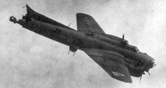 """B-17G """"Silver Dollar"""" going down over Berlin after being hit by bombs from another B-17. Two crew survived."""