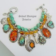 Schaef Designs turquoise, amber, & sterling silver charm bracelet | Fred Harvey Era charms | Schaef Designs artisan handcrafted Southwestern, Native American & Equine Jewelry | Online upscale southwestern equine jewelry boutique gallery | New Mexico  Love this mix of amber and turquoise and such pretty custom settings!