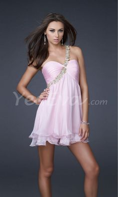 Charming One Shoulder Sweetheart Empire Open Back Chiffon Short Prom Dresses.$139.91