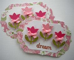 New. Paper Flower Embellishment Tags. Sweet by KindrasCreations