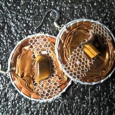 Bijoux boucles d'oreille capsules nespresso marrons
