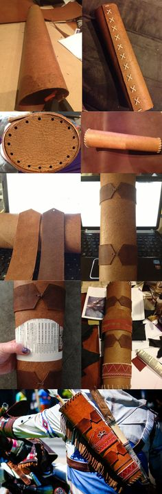 Connor's Quiver Tute by *BlackRabbitArtisan on deviantART Archery Quiver, Archery Hunting, Archery Set, Leather Armor, Leather Tooling, Diy Leather Quiver, Archery Equipment, Traditional Archery, Cosplay Tutorial