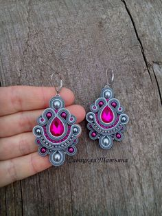 Gray fuchsia soutache еarrings, long dangle boho chic earrings, hand embroidered purple jewelry, statement oriental pink earrings Gold Chandelier Earrings, Pink Earrings, Soutache Tutorial, Soutache Necklace, Purple Jewelry, Polymer Clay Charms, Bead Jewellery, Fabric Jewelry, Handmade Necklaces