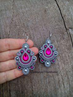 Gray fuchsia soutache еarrings, long dangle boho chic earrings, hand embroidered purple jewelry, statement oriental pink earrings Gold Chandelier Earrings, Pink Earrings, Boho Earrings, Crochet Earrings, Soutache Tutorial, Purple Jewelry, Fabric Jewelry, Hand Jewelry, Soutache Necklace