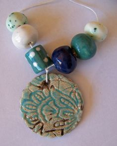 Ceramic bead set raku pendant aqua blue white by EarthbutterStudio, $16.50