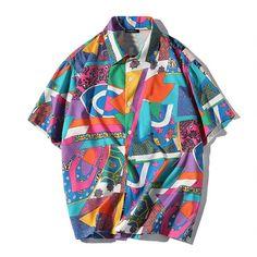 Men Loose Hip Hop Shirt Harajuku Japanese Ukiyo E Anime Shirt Short Sleeve Top Hawaiian Shirt Casual Streetwear Thin Summer 2018 Hip Hop, Fashion Casual, Mens Fashion, Funky Fashion, Fashion Trends, Japanese Streetwear, Top Streetwear, Hipster Outfits, Hipster Clothing