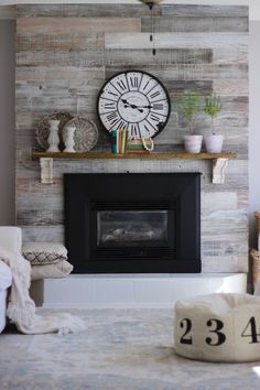 Fireplace Update, Brick Fireplace Makeover, Home Fireplace, Fireplace Remodel, Fireplace Design, Farmhouse Fireplace, Tiled Fireplace Wall, Reclaimed Wood Fireplace, Wood Mantle Fireplace