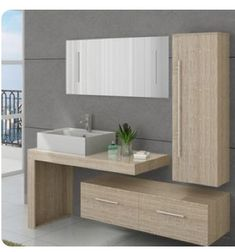 Fall for this set of Scandinavian bathroom furniture ultra complete and modern and enjoy the storage space you need. - Decoration For Home Scandinavian Bathroom Furniture, Bathroom Wall Decor, Small Bathroom, Washbasin Design, Bathroom Design Luxury, Outdoor Kitchen Design, Bathroom Inspiration, Home Decor, Bathroom Remodeling