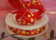 "5/8"" x 25 yd Yellow Stars on Red Satin Gift Ribbon"