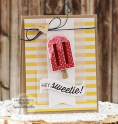 card ice cream popsicle birthday greetings - ispind kort Card by Laurie Schmidlin. Reverse Confetti stamp set: Let's Chill. Confetti Cuts: Let's Chill and Beautiful Banners. Friendship card. Summer party. Popsicles and ice cream.