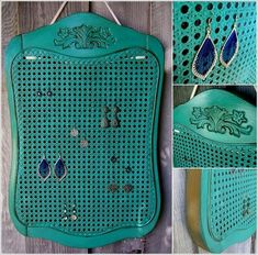 An old cane chair works as a jewelry organizer if you put a little care into it. An old cane chair works as a jewelry organizer if you put a little care into it. Old Wooden Chairs, Old Chairs, Folding Chairs, Dining Chairs, Lounge Chairs, White Chairs, Repurposed Items, Repurposed Furniture, Upcycled Vintage