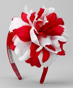 Red & White Peony Headband