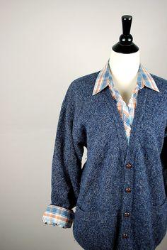 Vintage PENDELTON cardigan / 1960's oversized BOYFRIEND SWEATER. $45.00, via Etsy.