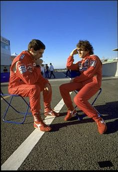 Ayrton Senna & Alain Prost. The Greatest Driver line up of all time and watching their rivalry develop was mesmerising ! Incredibly, after all the bitterness, they became friends. Such a pity that Ayrton left us all far too early, I've no doubt that he would have been World Champion in the Williams Cars in 1994,1995,1996 & 1997.