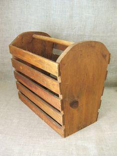 Large Wooden Basket  Wooden Slat Basket  Basket  by wilshepherd