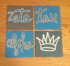 Set of 4 Zeta Tau Alpha Canvases on Etsy, $25.00