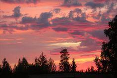 Summer's midnight sun, Finland. Midnight Sun, I Want To Travel, Summer Sun, Finland, Photograph, Earth, Sunset, Photo And Video, World