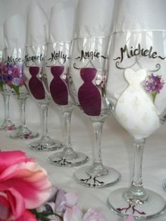 Mom u made these for Michelle u best make them for me! Lol Wine Glass Bridesmaids gifts