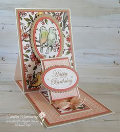 A gorgeous fun fold card using the Bird Ballad DSP by Stampin' Up! Lifestyles, lifestyles and quality of life The … Card Making Tutorials, Card Making Techniques, Making Ideas, Making Tools, Fancy Fold Cards, Folded Cards, Handmade Birthday Cards, Greeting Cards Handmade, Tarjetas Pop Up
