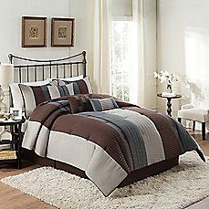 image of Emmet Reversible 7-Piece Comforter Set in Espresso