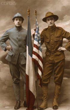 A Poilu (French World War I Infantryman) and an American soldier side by side (France). In 1917.   WWI