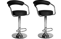 Modern Home Omicron Adjustable Retro Swivel Stool - Set of 2 High Back Bar Stools, Extra Tall Bar Stools, Brown Bar Stools, Bar Stools With Backs, Leather Bar Stools, Adjustable Bar Stools, Swivel Bar Stools, Bar Chairs, Portable Kitchen Island