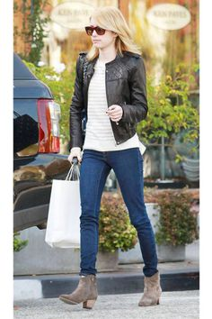 THE MID HEEL  From grocery store to date night, make like Emma Roberts with a pair of chic mid-heel boots. Not too high or low, they give a lift without any worries of aching arches.