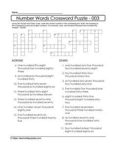 6-Digit Number Crossword Puzzle Number Puzzles, Maths Puzzles, Math Worksheets, Thanksgiving Word Search, Thanksgiving Words, Number Words, Crossword Puzzles, Learning Numbers, Differentiated Instruction