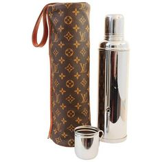 7d3e9fa50e50 Rare Louis Vuitton Monogram Picnic Bag Tote with Thermid France Vacuum  Flask   Cup