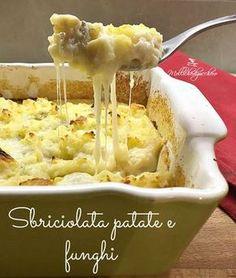 sbriciolata patate e funghi Veggie Side Dishes, Fish Dishes, Antipasto, Pasta, Easy Cooking, Cooking Recipes, Veggie Recipes, Healthy Recipes, Quiche