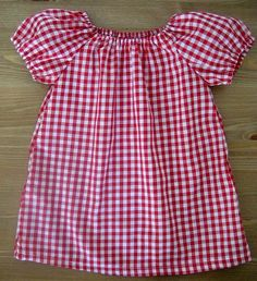 Red Gingham Baby Toddler Peasant Blouse Dress. $16.99, via Etsy.