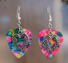 Heart with Flowers Guitar Pick Earrings  by CraftyCutiesbyDesign, $6.00