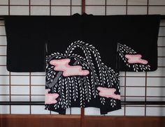 Silk Haori, Black Kimono Jacket w/ Pink & White Shibori, Vintage Japanese Silk Cardigan, Includes Himo Ties, High Quality, Free Shipping by KominkaFabricsJapan on Etsy